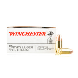 Image For 50 Rounds Of 115 Grain JHP Boxer Brass 9mm Winchester Ammunition