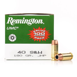 Image For 100 Rounds Of 180 Grain JHP Boxer Brass 40 Cal Remington Ammunition