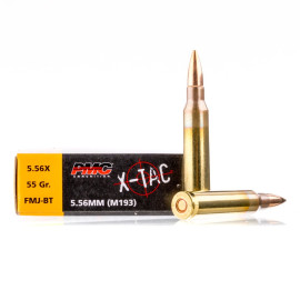 Image For 20 Rounds Of 55 Grain FMJ-BT Boxer Brass 5.56x45 PMC Ammunition