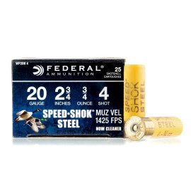 Image For 25 Rounds Of 3/4 oz. #4 Shot 20 Gauge Federal Ammunition