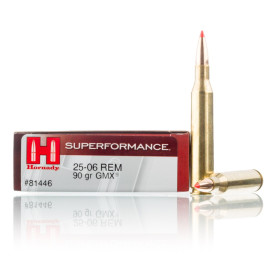 Image For 20 Rounds Of 90 Grain GMX Boxer Brass 25-06 Hornady Ammunition