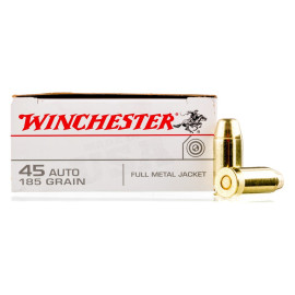 Image For 50 Rounds Of 185 Grain FMJ Boxer Brass 45 Auto Winchester Ammunition