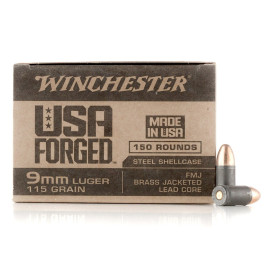 Image For 150 Rounds Of 115 Grain FMJ Boxer Steel 9mm Winchester Ammunition