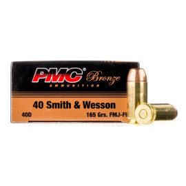 Image For 50 Rounds Of 165 Grain FMJ Boxer Brass 40 Cal PMC Ammunition