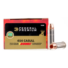 Image For 20 Rounds Of 250 Grain JHP Boxer Brass 454 Casull Federal Ammunition