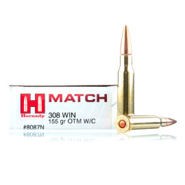 Image For 20 Rounds Of 155 Grain OTM Boxer Brass 308 Win Hornady Ammunition