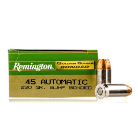 Image For 50 Rounds Of 230 Grain JHP Boxer Nickel-Plated Brass 45 Auto Remington Ammunition