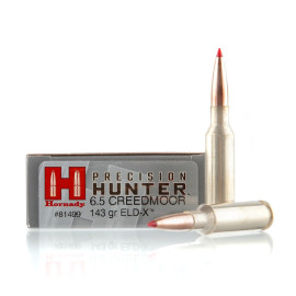 Image For 20 Rounds Of 142 Grain ELD Boxer Brass 6.5 Creedmoor Hornady Ammunition
