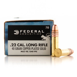 Image For 50 Rounds Of 40 Grain CPRN Rimfire Brass 22 LR Federal Ammunition