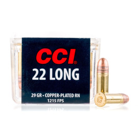 Image For 100 Rounds Of 29 Grain CPRN Rimfire Brass 22 Long CCI Ammunition