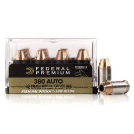Image For 20 Rounds Of 90 Grain JHP Boxer Nickel-Plated Brass 380 ACP Federal Ammunition