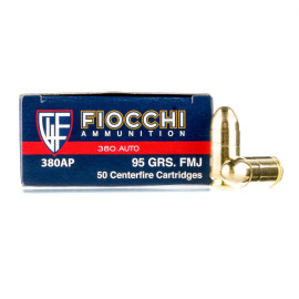 Image For 50 Rounds Of 95 Grain FMJ Boxer Brass 380 ACP Fiocchi Ammunition