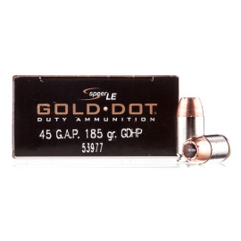 Image For 50 Rounds Of 185 Grain JHP Boxer Nickel-Plated Brass 45 GAP Speer Ammunition