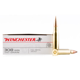 Image For 20 Rounds Of 147 Grain FMJ Boxer Brass 308 Win Winchester Ammunition