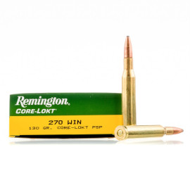 Image For 20 Rounds Of 130 Grain PSP Boxer Brass 270 Win Remington Ammunition