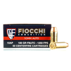 Image For 500 Rounds Of 180 Grain FMJ-TC Boxer Brass 10mm Fiocchi Ammunition