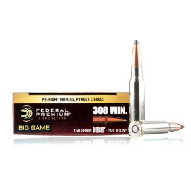 Image For 20 Rounds Of 150 Grain Nosler Partition Boxer Brass 308 Win Federal Ammunition
