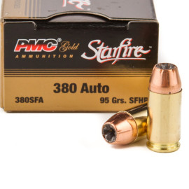 Image For 20 Rounds Of 95 Grain JHP Boxer Brass 380 ACP PMC Ammunition