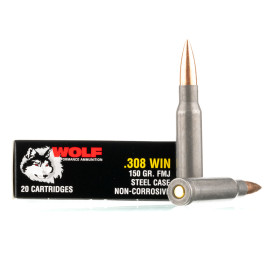 Image For 500 Rounds Of 150 Grain FMJ Boxer Steel 308 Win Wolf Ammunition