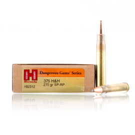 Image For 20 Rounds Of 270 Grain SP Boxer Brass 375 H&H Magnum Hornady Ammunition