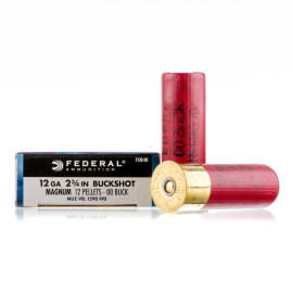 Image For 5 Rounds Of #00 Buck 12 Gauge Federal Ammunition
