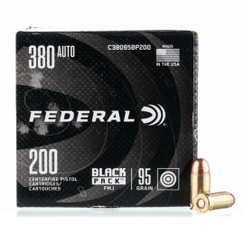 Image For 200 Rounds Of 95 Grain FMJ Boxer Brass 380 ACP Federal Ammunition