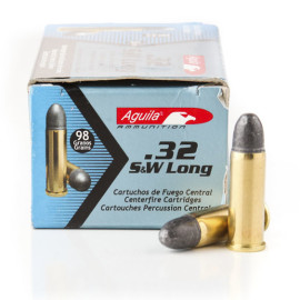 Image For 50 Rounds Of 98 Grain LRN Boxer Brass 32 S&W Long Aguila Ammunition
