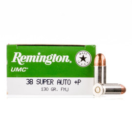 Image For 50 Rounds Of 130 Grain FMJ Boxer Nickel-Plated Brass 38 Super Remington Ammunition