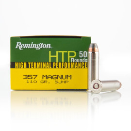 Image For 500 Rounds Of 110 Grain SJHP Boxer Nickel-Plated Brass 357 Magnum Remington Ammunition