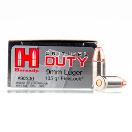 Image For 25 Rounds Of 135 Grain JHP Boxer Nickel-Plated Brass 9mm Hornady Ammunition