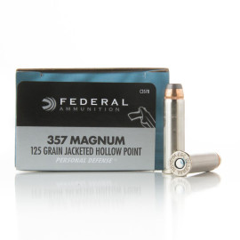 Image For 20 Rounds Of 125 Grain JHP Boxer Nickel-Plated Brass 357 Magnum Federal Ammunition