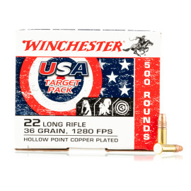 Image For 500 Rounds Of 36 Grain CPHP Rimfire Brass 22 LR Winchester Ammunition
