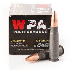 Image For 20 Rounds Of 123 Grain HP Berdan Steel 7.62x39 Wolf Ammunition