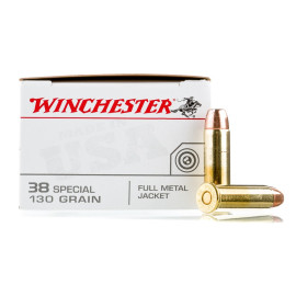 Image For 500 Rounds Of 130 Grain FMJ Boxer Brass 38 Special Winchester Ammunition