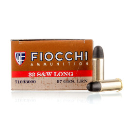 Image For 50 Rounds Of 97 Grain LRN Boxer Brass 32 S&W Long Fiocchi Ammunition