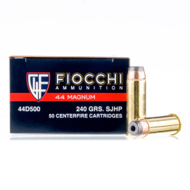 Image For 500 Rounds Of 240 Grain SJHP Boxer Brass 44 Magnum Fiocchi Ammunition
