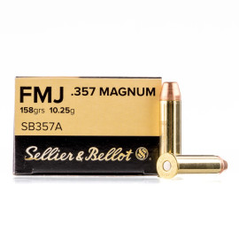 Image For 50 Rounds Of 158 Grain FMJ Boxer Brass 357 Magnum Sellier and Bellot Ammunition