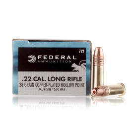 Image For 50 Rounds Of 38 Grain CPHP Rimfire Brass 22 LR Federal Ammunition