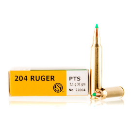 Image For 20 Rounds Of 32 Grain PTS Boxer Brass 204 Ruger Sellier and Bellot Ammunition