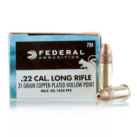 Image For 500 Rounds Of 31 Grain CPHP Rimfire Brass 22 LR Federal Ammunition