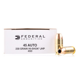 Image For 50 Rounds Of 230 Grain JHP Boxer Brass 45 Auto Federal Ammunition