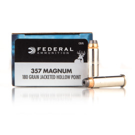 Image For 20 Rounds Of 180 Grain JHP Boxer Nickel-Plated Brass 357 Magnum Federal Ammunition