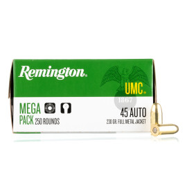 Image For 1000 Rounds Of 230 Grain FMJ Boxer Brass 45 Auto Remington Ammunition