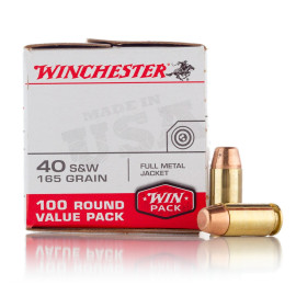 Image For 100 Rounds Of 165 Grain FMJ Boxer Brass 40 Cal Winchester Ammunition