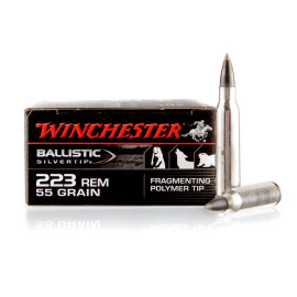 Image For 20 Rounds Of 55 Grain Polymer Tipped Boxer Nickel-Plated Brass 223 Rem Winchester Ammunition