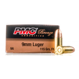 Image For 1000 Rounds Of 115 Grain FMJ Boxer Brass 9mm PMC Ammunition