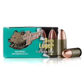 Image For 500 Rounds Of 115 Grain FMJ Berdan Steel 9mm Brown Bear Ammunition