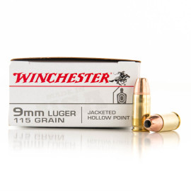 Image For 500 Rounds Of 115 Grain JHP Boxer Brass 9mm Winchester Ammunition