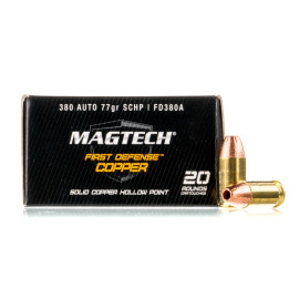 Image For 20 Rounds Of 77 Grain JHP Boxer Nickel-Plated Brass 380 ACP Magtech Ammunition