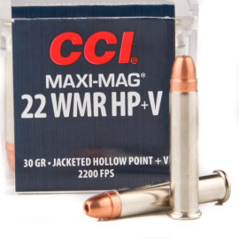 Image For 50 Rounds Of 30 Grain JHP Rimfire Nickel-Plated Brass 22 WMR CCI Ammunition